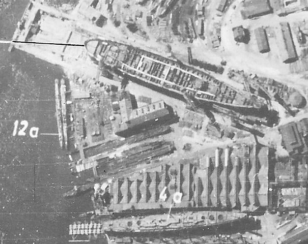 Sovietsky Soyuz photographed by a German plane on 26 June 1941 in the Baltic Yard