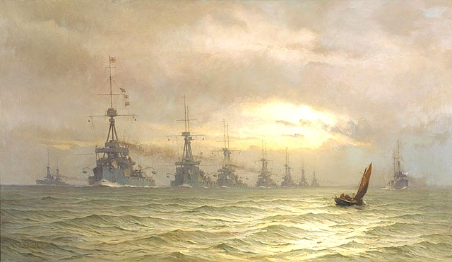 The Grand Fleet 1st naval squadron in 1910.