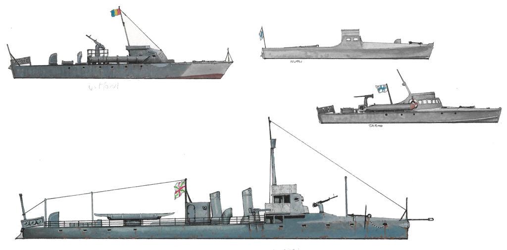 Various small ships