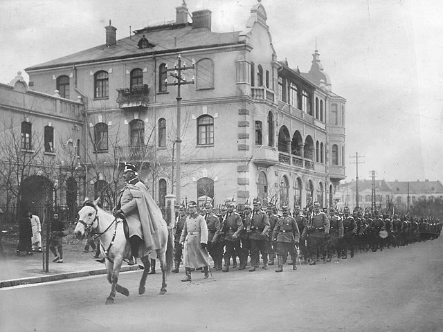 German troops parading en route to the frontline in Tsingtao