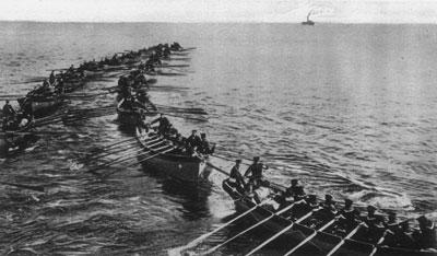 Japanese landing boats preparing to land at Tsingtao