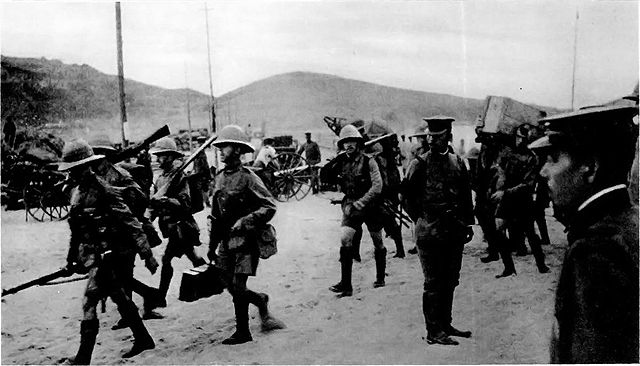 British troops arrives at Tsingato in 1914