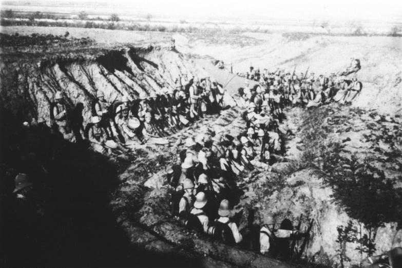 German Marines on the frontline, fighting at Tsingtao