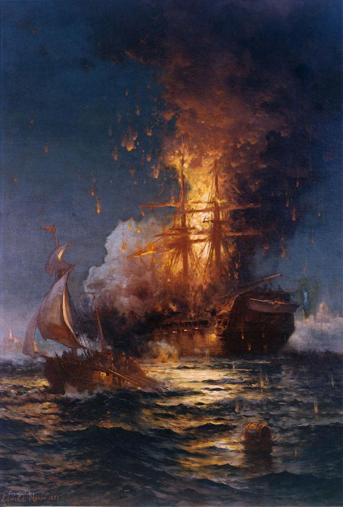 USS Philadelphia burning in Tripoli