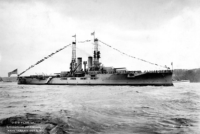 USS Florida at a naval review in 1911