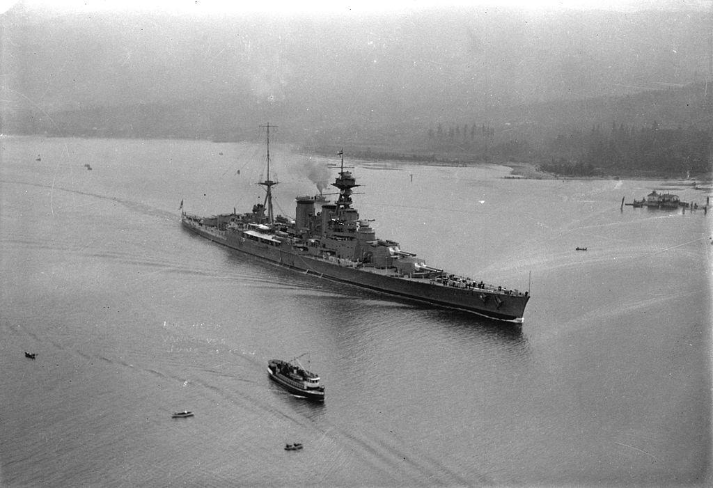 HMS Hood entering Vancouver