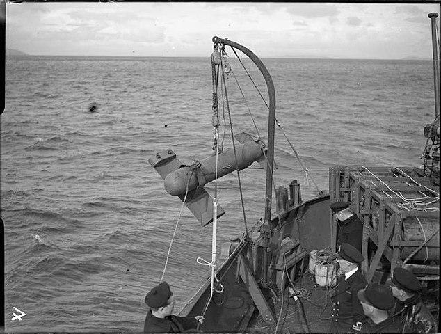 Paravane deployed by HMS Bentick off Greenock
