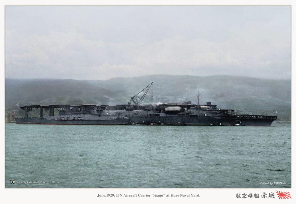 IJN Akagi in 1929, colorized by Irootoko Jr.