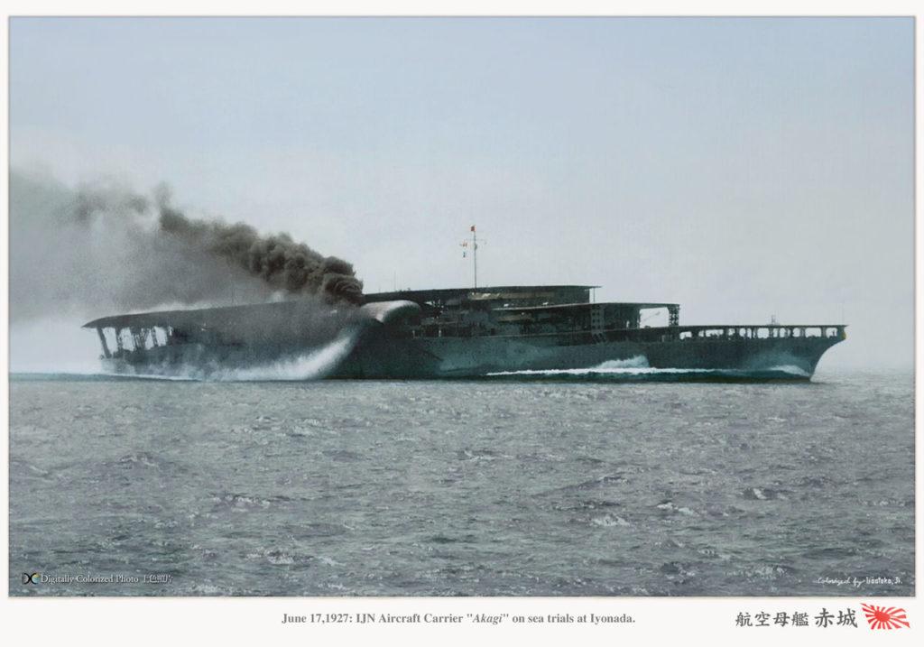 IJN Akagi in 1927, colorized by Irootoko Jr