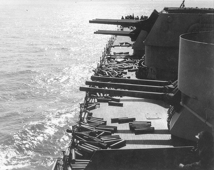 6 in guns USS Brooklyn firing Sicily