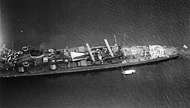 Stern overview, showing the torpedo tubes and their reloads, after reconstruction, IJN kako, November 1941
