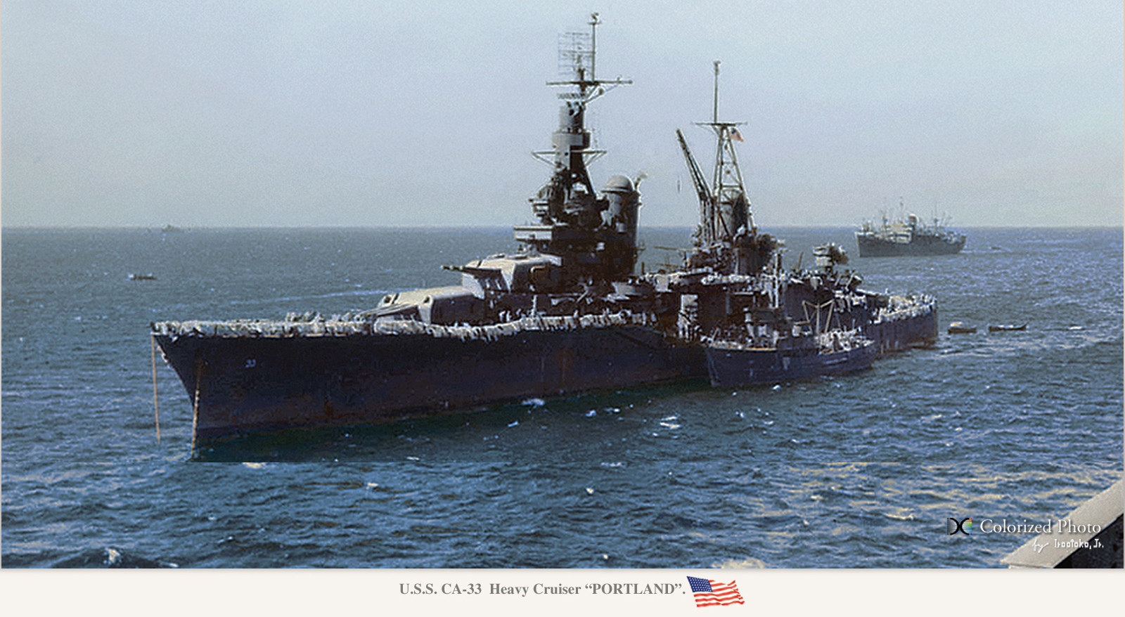 USS Portland, colorized by Hirootoko JR.