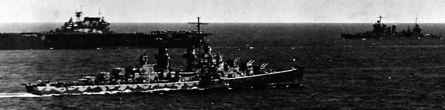 USS Atlanta escorting USS Hornet, with USS New orleans in the BG, 6 June 1942
