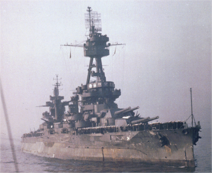 USS New York in 1945 navy day celebration