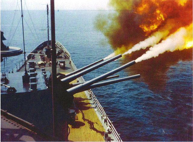 USS St Paul firing in 1966
