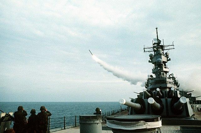 uss wisconsin firing a tomahawk