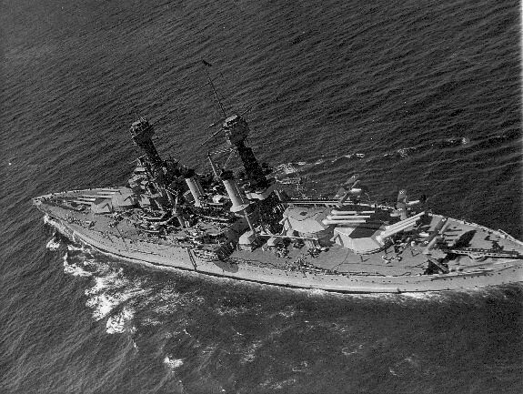 USS Tennessee in 1936, aerial view.