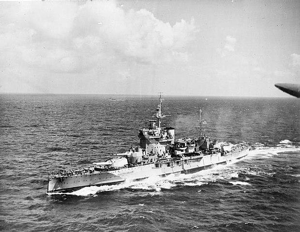 HMS Warspite in the Indian Ocean