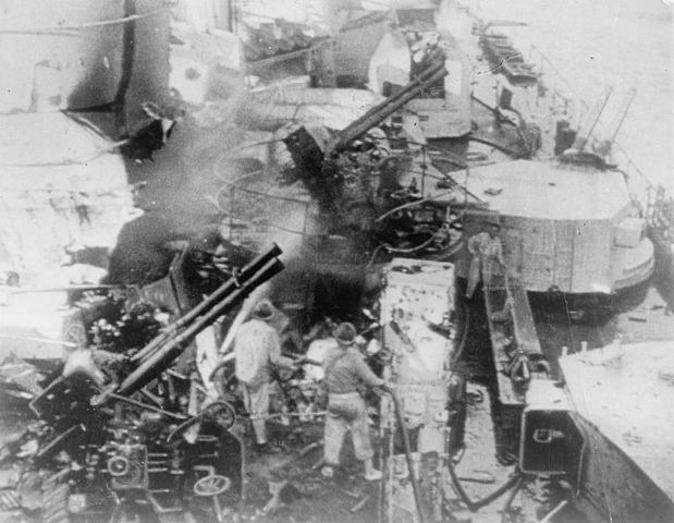 Heavy damage on the Cesare after the battle