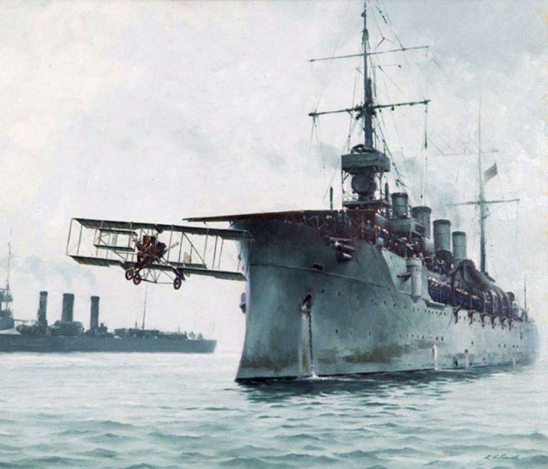USS Birmingham launching Eugen Ely