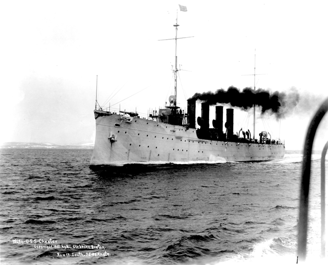 The USS Chester, racing towards the sinking Titanic