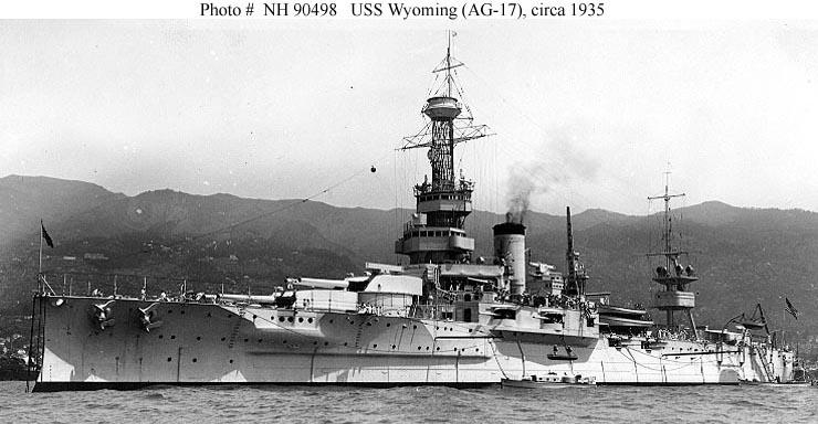 USS Wyoming in 1935 after modernization as training battleship