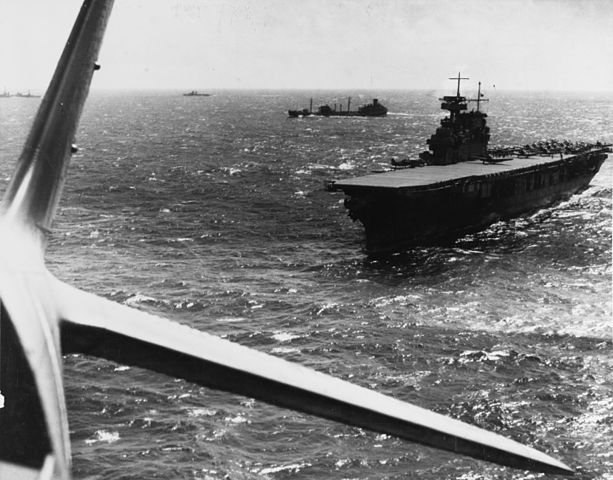 USS Yorktown at the Battle of the Coral Sea, April 1942