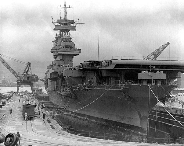 USS Yorktown in drydock, Pear Harbor 29 May 1942