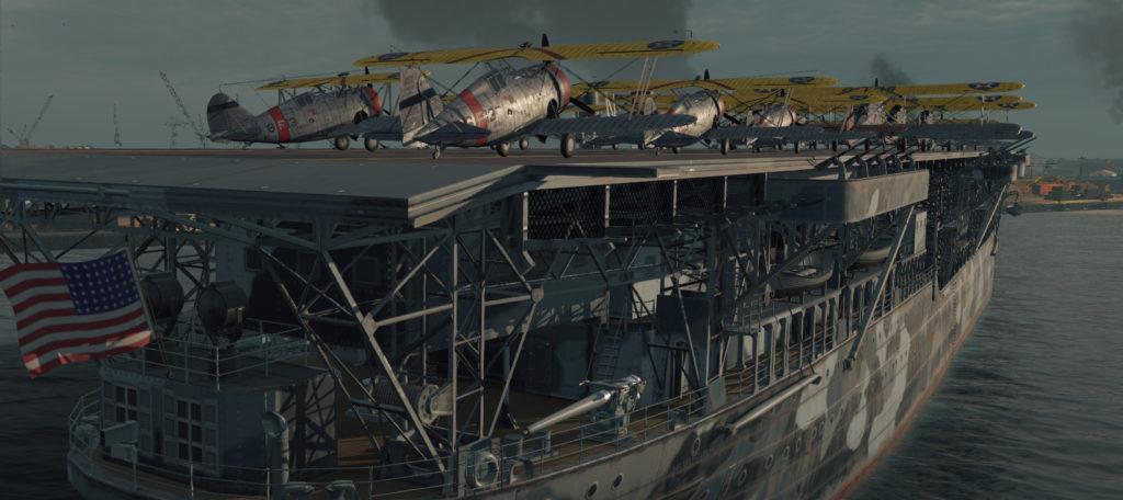 USS Langley close view aviation