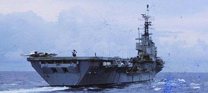 stern of HMS Centaur underway to Ceylon
