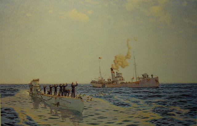 U-111 surrendering to an armed trawler