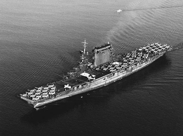 USS Lexington leaving San Diego on 14 October 1941