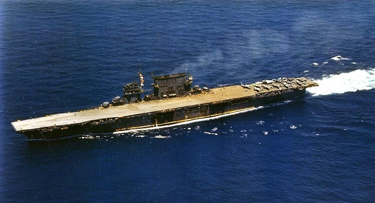 USS Saratoga after refit in 1942