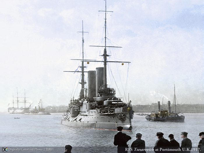 Tsesarevich in Portsmouth, colorized by Hirootoko Jr