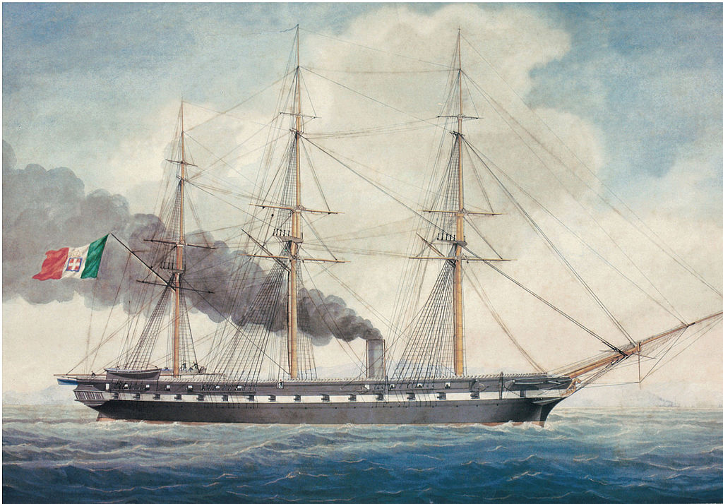 Italian Wooden screw frigate Duca di Genova in 1866