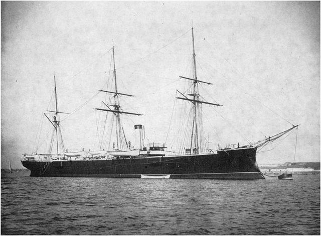 Pamiat Merkuria with her original barque rig