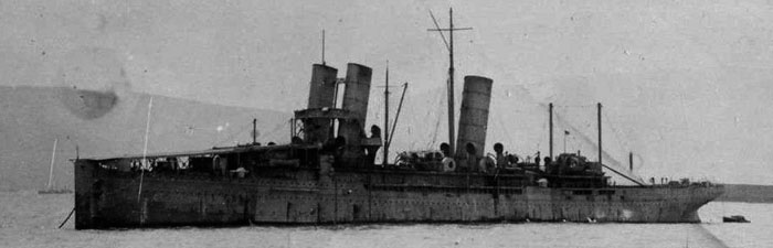 HMS Campania in 1916, showing her modifications