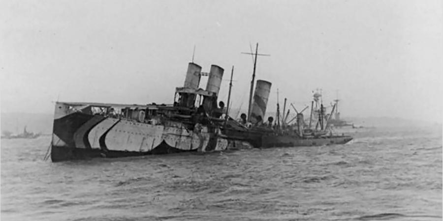 HMS Campania slowly sinking in the Firth of Forth on the early morning of 5 November