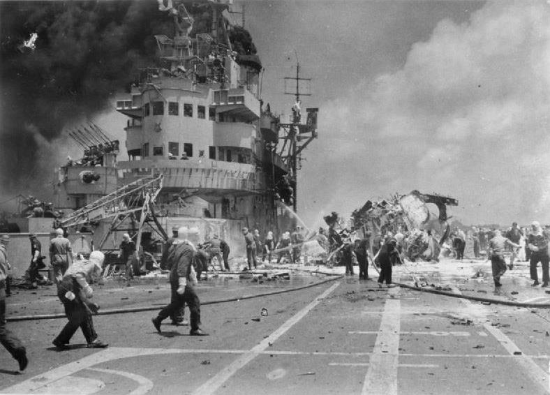 HMS Formidable hit by Kamikazes