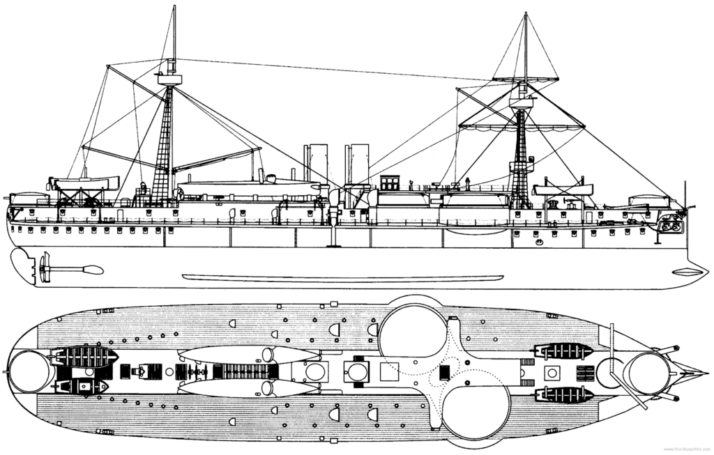 Very large blueprint of the Dingyuan class in Chinese service