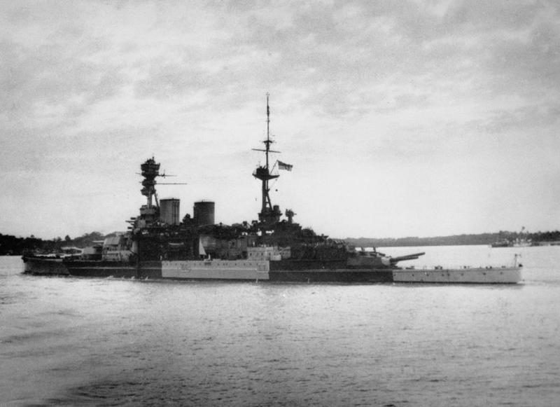 HMS Repulse leaving Singapore