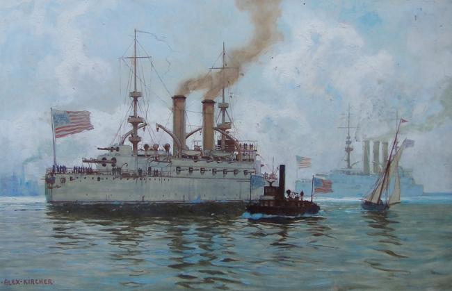 A painting of USS Kentucky at Newport News