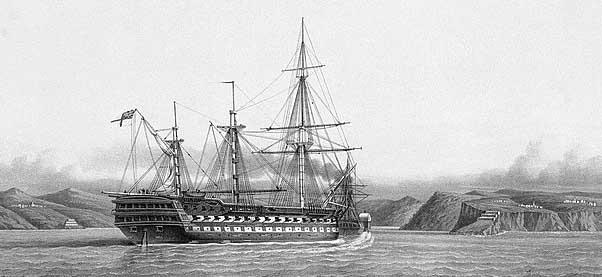HMS Albion through the Bosphorus, by Le Breton, 1854