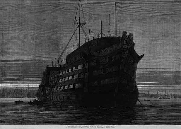 HMS Dreadnought as an hospital ship off Greenwich
