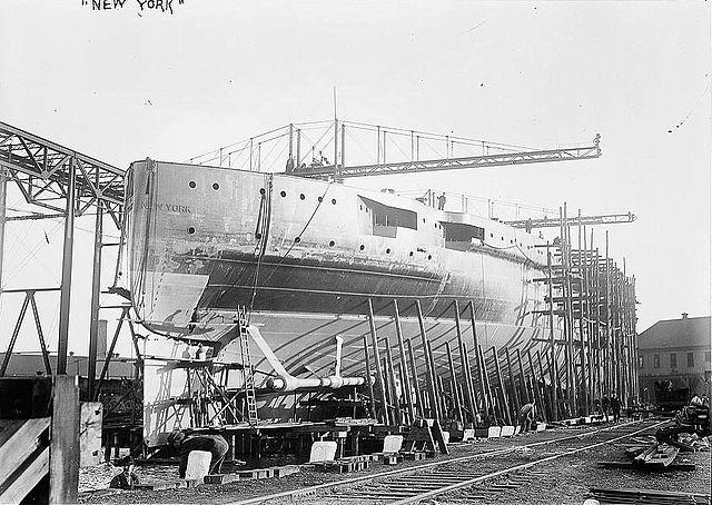 USS New York in construction at Brooklyn Navy Yard