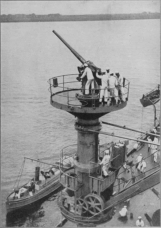 3-in gun on a crane platform onboard USS Texas