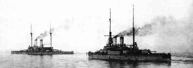 Rostislav and Tri Svititelia in fleet exercises