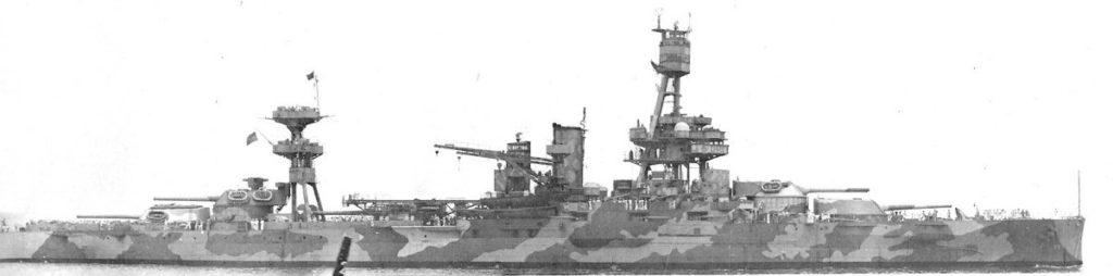 Profile of USS Texas in November 1942