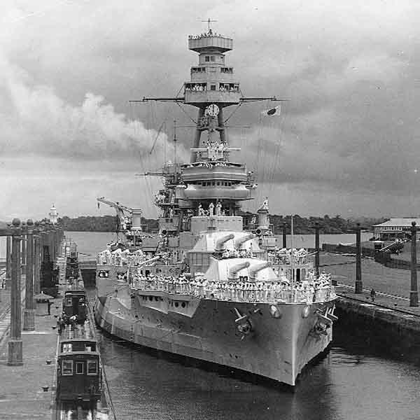 USS Texas through the Panama canal