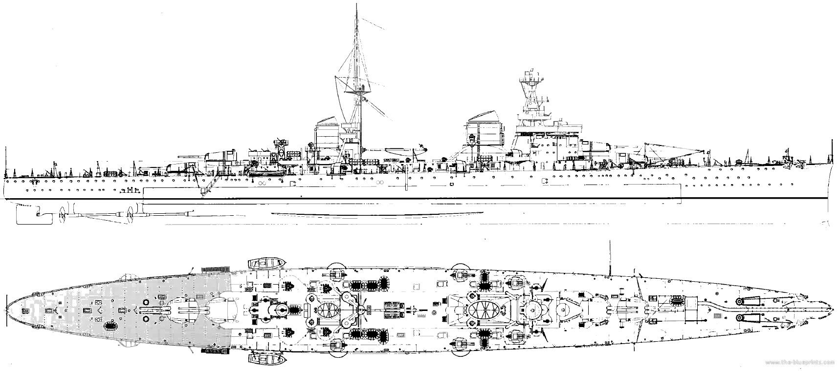 Blueprint of the Trieste class in 1942